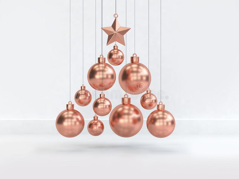 Many copper christmas ball floating minimal abstract white scene christmas decoration 3d render. Many copper christmas ball floating minimal abstract white scene vector illustration