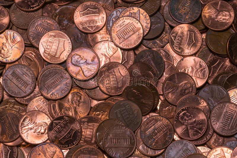 Copper pennies in a pile from top view stock photography