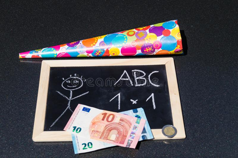 First day of school. So many costs for the first day of School the parents have to pay royalty free stock image