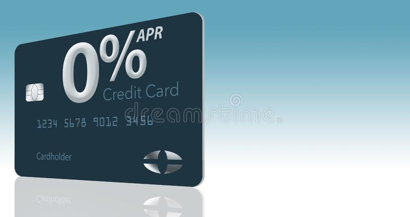 Many credit card offers now include zero percent annual percentage rate for 12-15 months and this generic mock card illustrates stock illustration