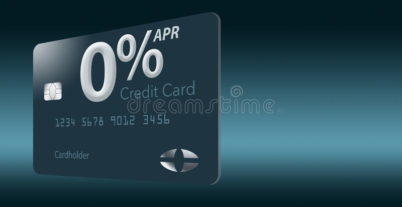 Many credit card offers now include zero percent annual percentage rate for 12-15 months and this generic mock card illustrates vector illustration