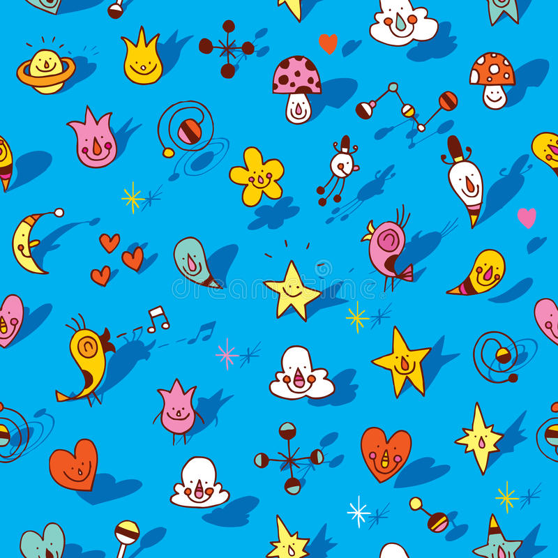 Free Many Cute Cartoon Characters Seamless Pattern Royalty Free Stock Photo - 76528995