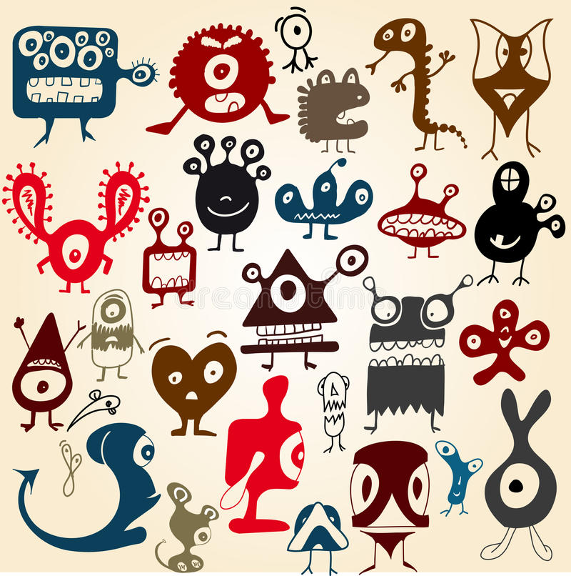 Many Cute Doodle Monsters Stock Photo