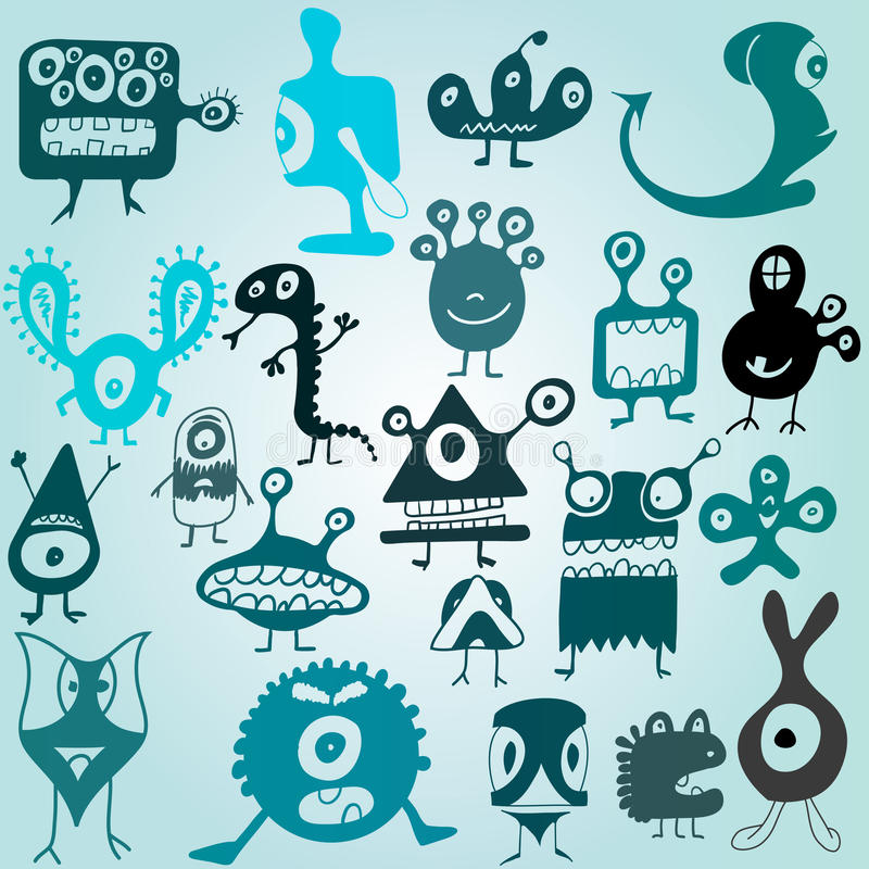 Download Many cute doodle monsters stock vector. Image of funny - 22834258