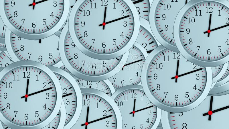 Many 3d simple clocks with hour, second and minute arrows, computer generated modern business backdrop. Many 3d simple clocks with hour, second and minute arrows royalty free stock photo
