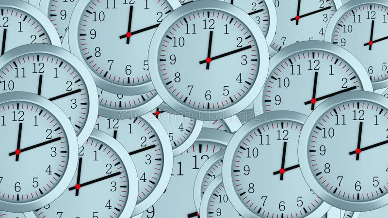 Many 3d simple clocks with hour, second and minute arrows, computer generated modern business backdrop. Many 3d simple clocks with hour, second and minute arrows royalty free stock photography