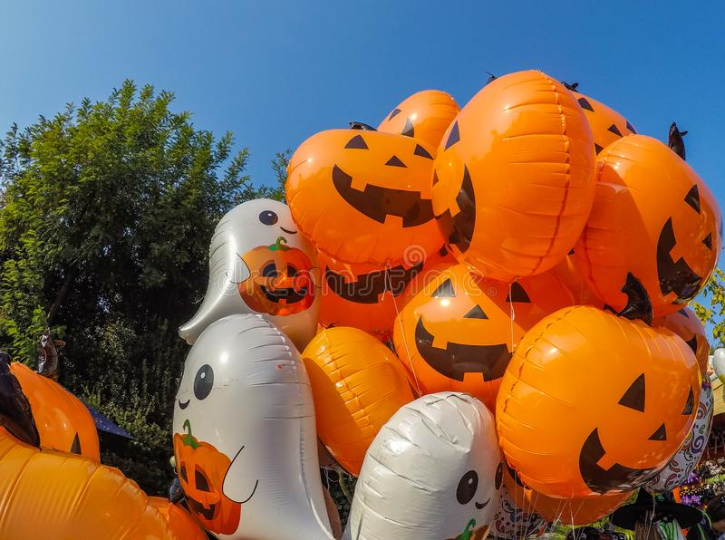Many different balloons for the Halloween party royalty free stock photo