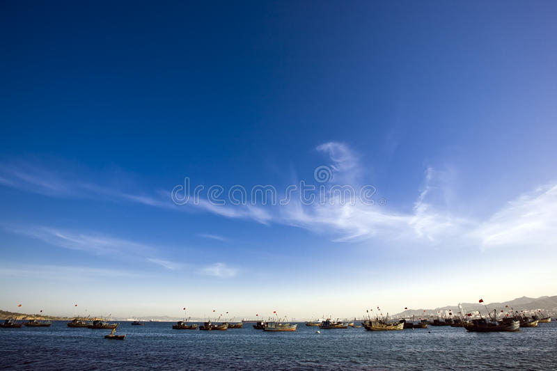 Many different boats stock photography
