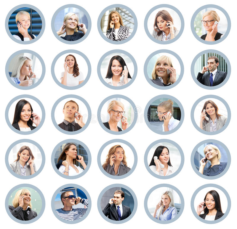 Many different business people talking on the phone royalty free stock images