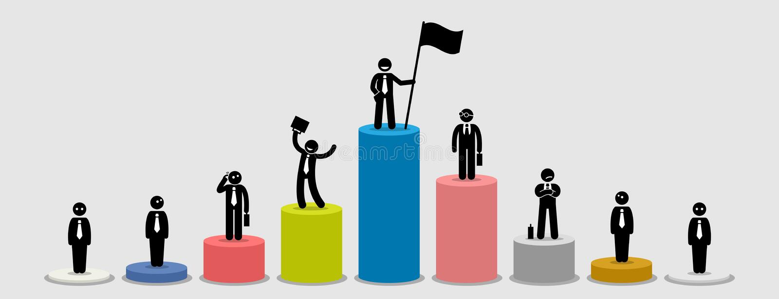 Many different businessman standing on bar charts comparing their financial status. royalty free illustration