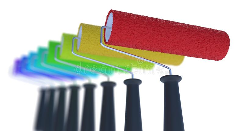 Many different colored paint rollers. 3D rendered illustration. Many different colored paint rollers. 3D rendered illustration royalty free illustration