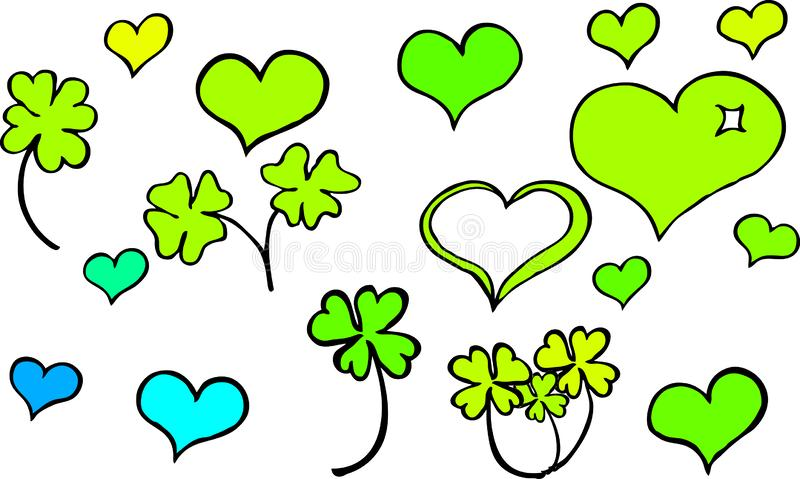 Many different hand drawn hearts and four leaf clover in green turquoise and yellow colors stock illustration
