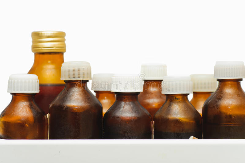 Many different medical bottle on white background. concern for h stock photos