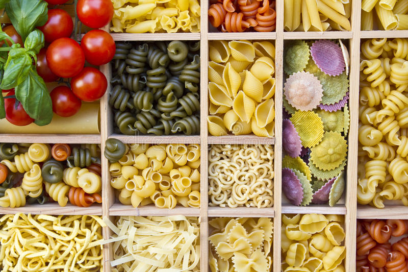 Many different noodles stock photography