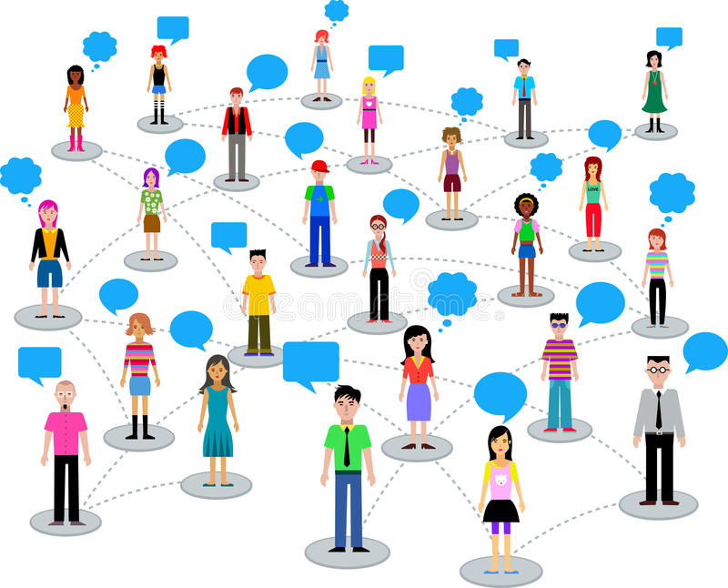 Many different people stock illustration