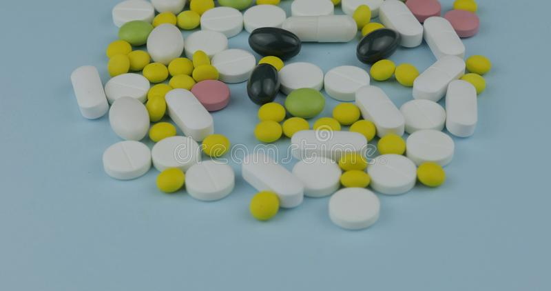 Many different pills and drugs. Medicine, pills and tablets stock photos
