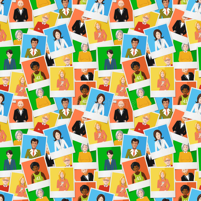 Many different polaroid instant photos with flat portraits of people on colourful backgrounds, seamless pattern vector illustration