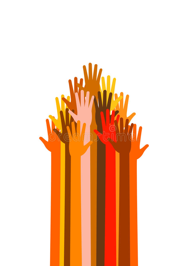 Many different races hands in the arrow form vector illustration