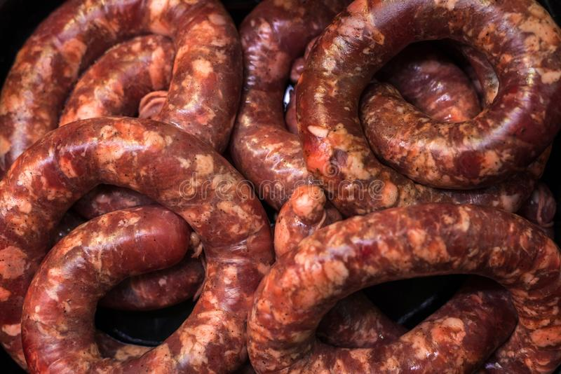 Many different sausages on the whole frame stock photos