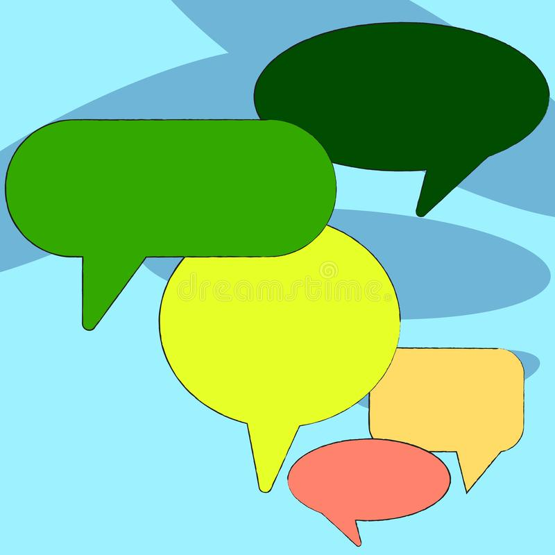 Many Different Shapes Colorful Blank Speech Bubble. Text Balloon in Various Sizes and Shades. Creative Background Idea vector illustration