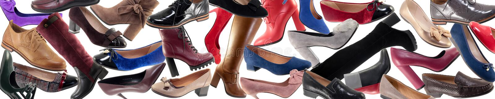 Many different shoes, header. Banner royalty free stock images