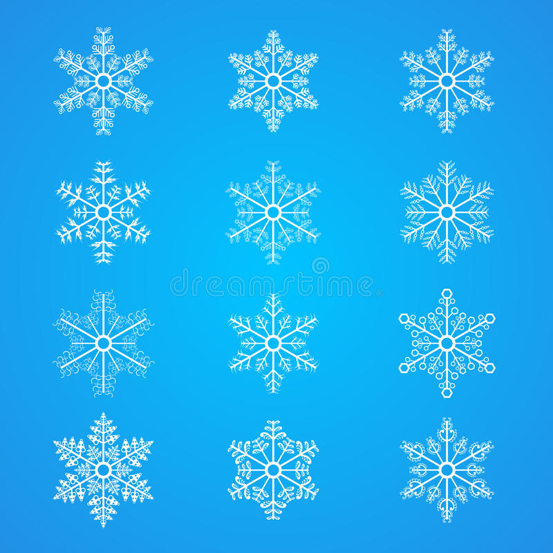 Download Many Different Snowflakes Icon Collection Stock Illustration - Illustration: 28696259
