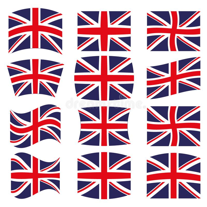 Many Different styles of flag for United Kingdom vector illustration