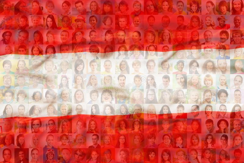 Many diverse faces on Austria national flag royalty free stock photos