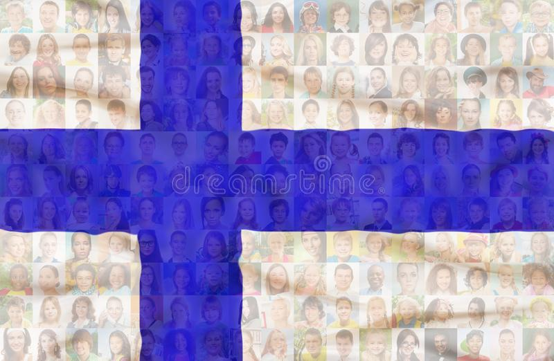 Many diverse faces on Finland national flag. Many diverse faces of men women and children on Finland national flag royalty free stock photo