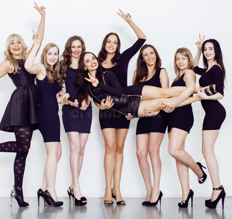Many Diverse Women In Line Wearing Fancy Little Black Dresses Party Makeup Vice Squad Concept ...