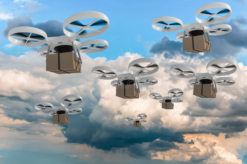 Many drones is delivering packages - fast mail concept stock illustration