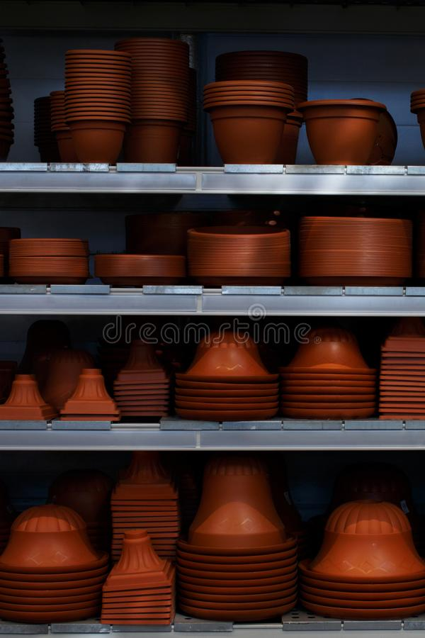 Many empty flower pots stock photos