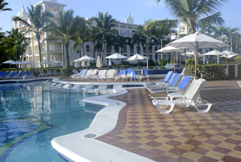 Many empty pool lounge chairs stock image