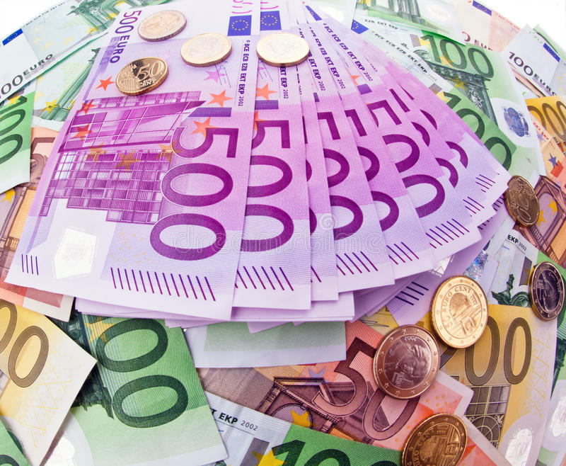 Many Euro Banknotes royalty free stock photos