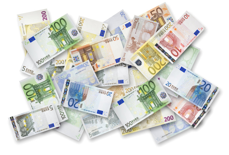 Many Euro banknotes. Euro banknotes of 200, 100, 50, 20, 10 and 5 Euros spread randomly on a table royalty free stock photos