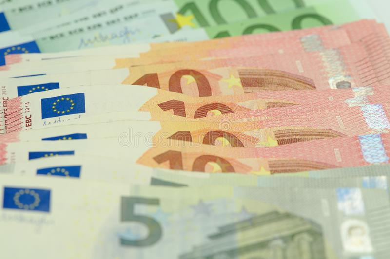 Many euro notes close up stock images