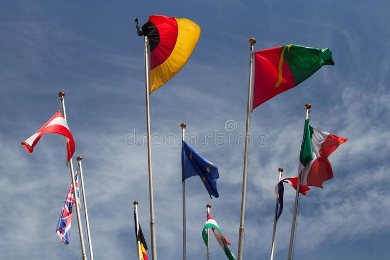 Many europeans flags in the wind against the sky royalty free stock photos