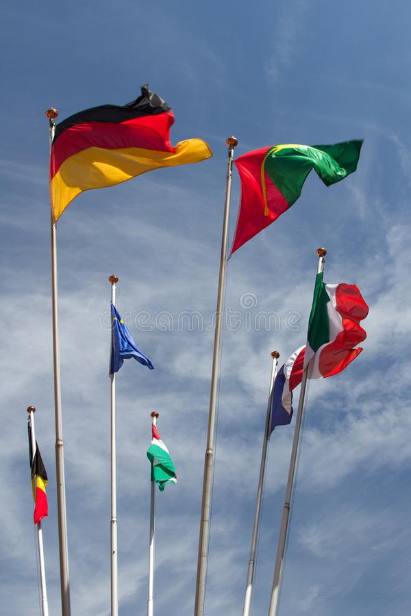 Many europeans flags in the wind against the sky royalty free stock photography