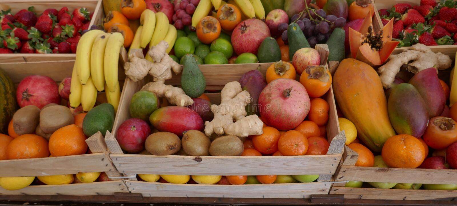 Many exotic fruits on a market in Funchal, Madeira, Portugal. Many exotic fruits on a farmer`s market in Funchal, Madeira, Portugal royalty free stock photo