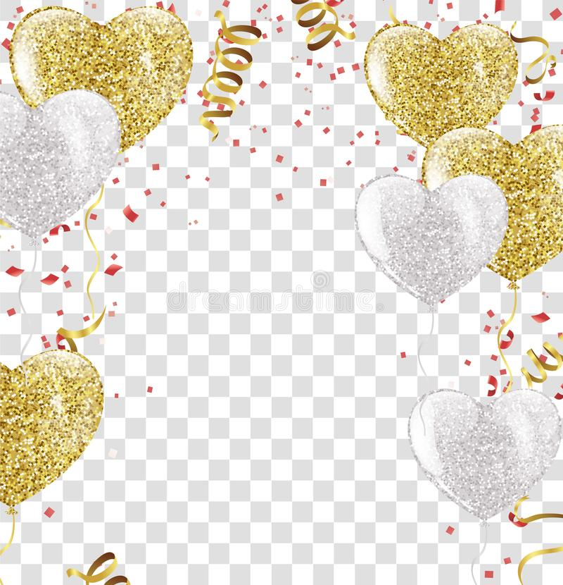 Many Falling Colorful Tiny Confetti And Ribbon Isolated On Trans royalty free illustration