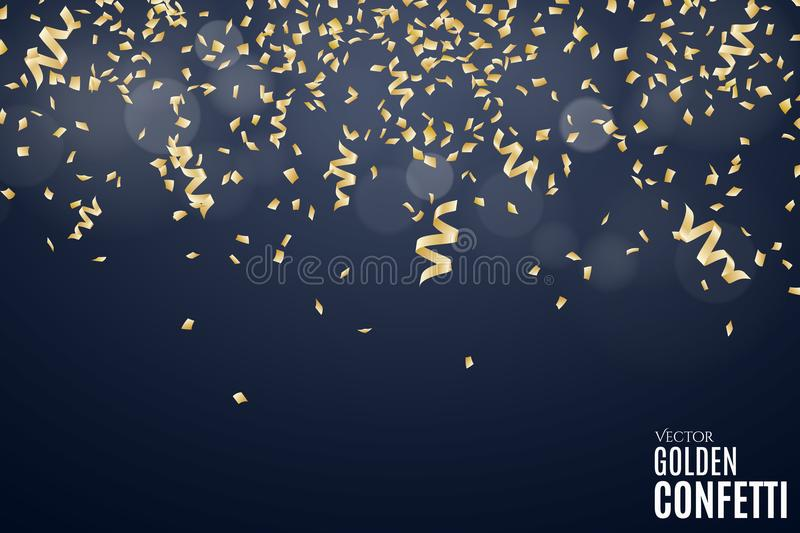 Many falling golden confetti and ribbons on a dark blue background. Festive New Year background. Place for your project. Christmas vector illustration