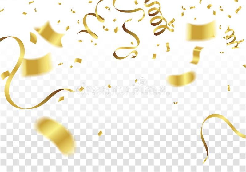 Many Falling Golden Tiny Confetti And Ribbon. Festive & Celebration Background. Vector Illustration stock illustration