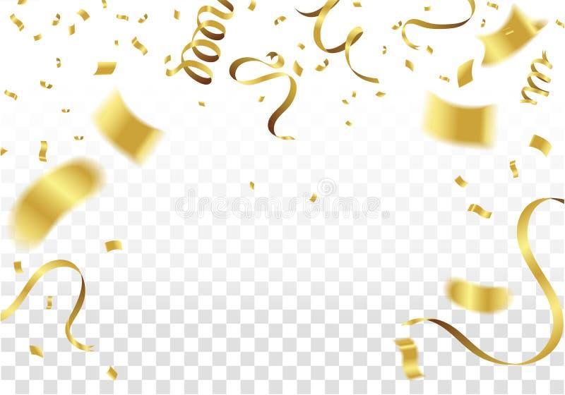 Many Falling Golden Tiny Confetti And Ribbon. Festive & Celebration Background. Vector Illustration vector illustration
