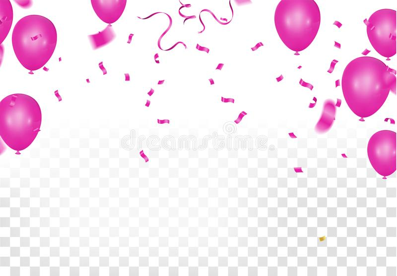 Many Falling Pink Tiny Confetti Isolated On White Background. Vector stock illustration