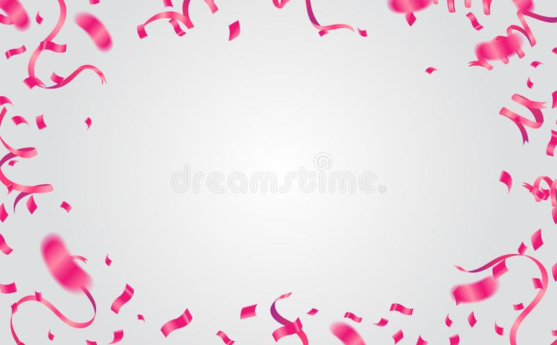 Many Falling Pink Tiny Confetti Isolated On White Background. Vector royalty free illustration