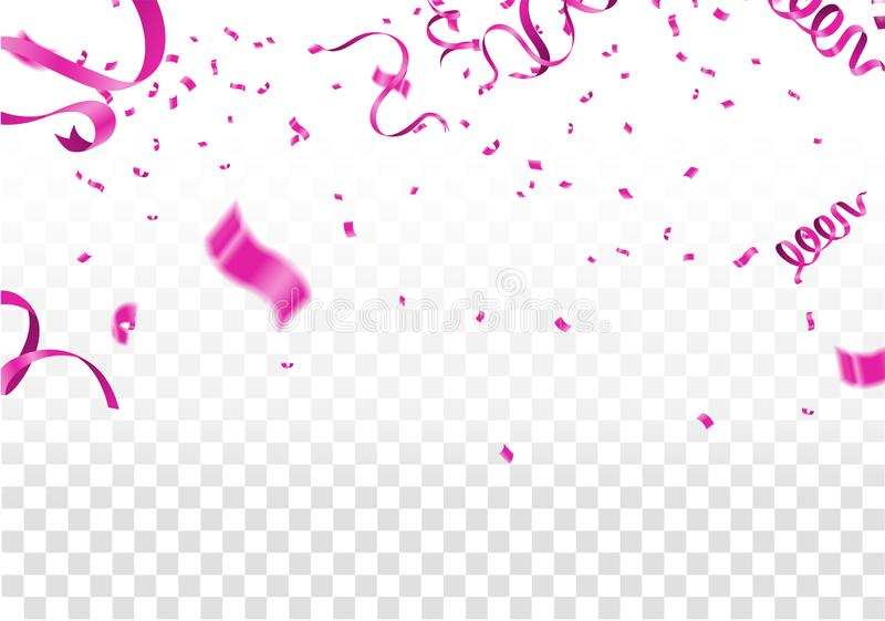 Many Falling Pink Tiny Confetti Isolated On White Background. Vector vector illustration
