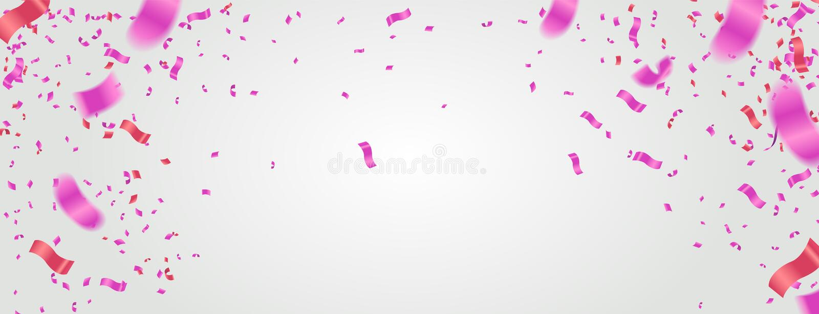 Many Falling Pink Tiny and red Tiny Confetti Isolated On White Background. Vector illustration vector illustration
