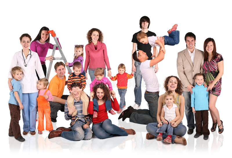 Download Many Families With Children Group Stock Photo - Image of isolated, collage: 7421178