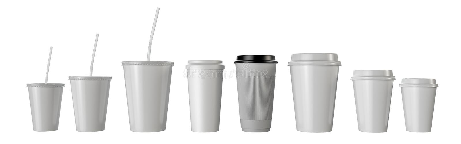 Many fast food paper cups isolated. royalty free illustration