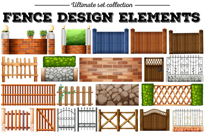 Many fence design elements stock illustration
